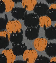 Halloween Cotton Fabric -Belinda'S Big Kitty Halloween Cotton Fabric – Belinda'S Big Kitty Retro Halloween, Halloween Tags, Happy Halloween, Holidays Halloween, Halloween Crafts, Halloween Decorations, Halloween Black Cat, Halloween Fabric, Halloween Prop