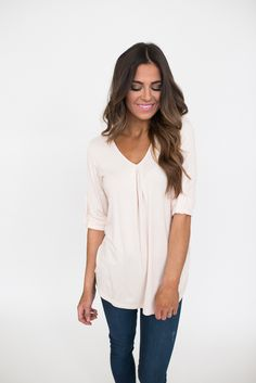 Pale Pink Cuffed Sleeve Top - Dottie Couture Boutique