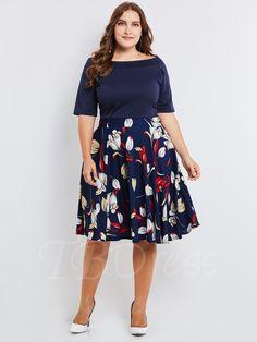 d38e4fe00272 Plus Size Falbala Dark Blue Printing Women's Day Dress. Klänningar Stora  StorlekarMode ...