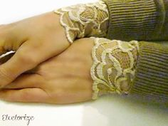 DIY Easy Lace Cuff Tutorial from Etcetorize here. She also used this elasticized lace on cuffs that peek out of boots. No elastic is necessa...