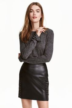 Short skirt in imitation leather with decorative eyelets and leather lacing at sides. Concealed zip at back. Leather And Lace, Leather Skirt, Girl Tied Up, Swedish Brands, Fashion Moda, Rock, Short Skirts, Fashion Online, Ideias Fashion