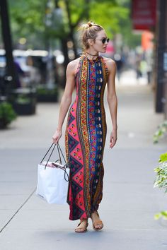 Candice Swanepoel in stylish summer long dress out in NYC July-2014