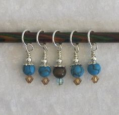 Turquoise Beaded Stitch Markers Set of 5 US 8 by KnitaBitCottage, $8.99