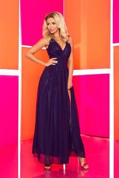 Chiffon maxi dress with lining - navy blue. Skirt Fashion, Fashion Dresses, Chiffon Maxi Dress, Floor Length Dresses, Modern Outfits, Navy Blue Dresses, Fashion Models, Women's Fashion, Corset