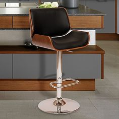 Armen Living LCLOSWBABLWA London Swivel Barstool in Black Faux Leather and Chrome Finish ** Click for Special Deals #Barstools