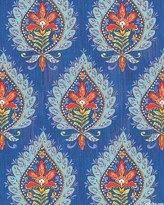 Bohemia - Kamala Paisley Blooms - Porcelain Blue Upholstery Fabrics, Print Ideas, Dena, Fabric Online, Small Apartments, Creative Inspiration, Damask, My Drawings, Digital Prints