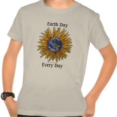 Earth Day, Every Day Sunflower kid's tee shirt features our original painting of a sunflower with the earth in the center with the words Earth Day above and Every Day beneath. #sunflowers #sunflower #yellow #floral #art #flowers #botany #garden #earth #day #earth #go #green #planet #nature #love #love #the #earth #plant #a #flower #global #warming #climate #change #spring #summer #beautiful #colorful #artwork #sunflower #art #sunny #gifts #gift #painting #poster #prints #floral #arrangements…