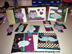 An alternative set of cards made using the January 2014 Close to My Heart special Cloud Nine Card Making Kit and Laughing Lola papers