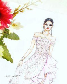Beautiful Georges Hobieka  gown.  fashion illustration, fashion