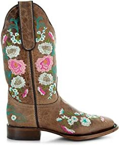 Amazon.com | Soto Boots Women's Jasmine Floral Square Toe Cowgirl Boots M50043 (Tan, 5.5 B(M) US) | Mid-Calf Girl Cowboy Boots, Warm Winter Boots, Snow Boots Women, Pull On Boots, Goodyear Welt, Bearpaw Boots, Jasmine, Calves, Toe