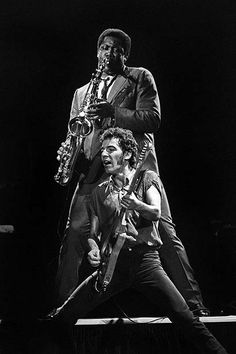 """Bruce Springsteen and """"The Big Man,"""" Clarence Clemons at the Oakland Coliseum October 28, 1980"""