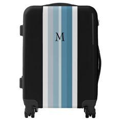 Modern shades of blue stripes custom monogram luggage - initial gift idea style unique special diy