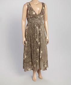 Look what I found on #zulily! Brown Floral Surplice Maxi Dress - Plus #zulilyfinds