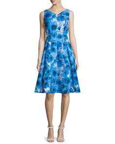 ac6742ee0fe Carmen Marc Valvo Sleeveless Floral-Print Fit   Flare Dress