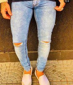 ebabbce88 Calça Jeans Skinny Sky Rasgo Joelho - Zip Off Calca Jeans Masculinas, Calca  Jeans Skinny