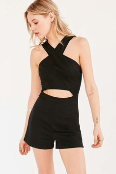 Silence + Noise Cutout Cross-Front Ponte Romper - Urban Outfitters