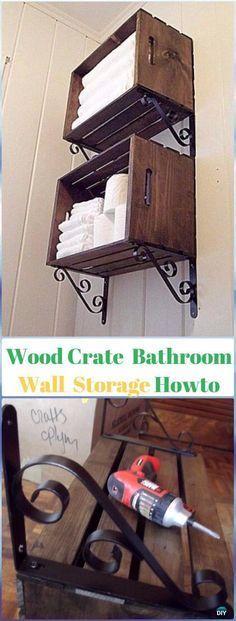 DIY Wood Crate Bathroom Storage Organizer Instructions - DIY Wood Crate Furniture Ideas Projects