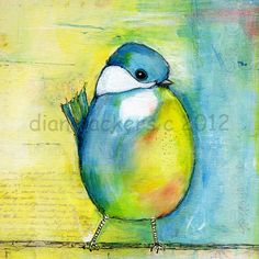 Original Fine Art Painitng Blue Bird on a Wire by Diane Ackers. $65.00, via Etsy.