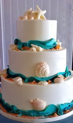 Seashell Cake White Chocolate Seashells Floating In Ocean Blue Ribbons Of Icing Adorn This Three Tier
