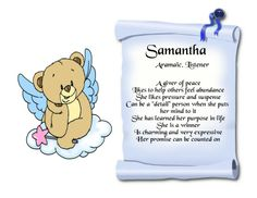 Samantha Name Keepsake Print