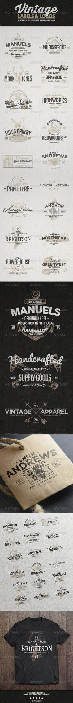 Vintage Labels & Logos Template   Buy and Download: http://graphicriver.net/item/vintage-labels-logos-vol3/8207558?WT.ac=category_thumb&WT.z_author=Alex_Zeppelin&ref=ksioks