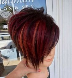 33 Red Bob Haircut Style For Valentine's Day, The color of love is red . your passion .From ginger to gem tones, red is dependably a striking decision. And keeping in mind that it may be a ma. Short Red Hair, Short Hair Cuts For Women, Short Hair Styles, Haircuts For Women, Stacked Bob Hairstyles, Short Bob Hairstyles, Hairstyle Short, Hairstyle Ideas, Red Hair Color