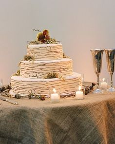 "See the ""Woodsy Wedding Cake"" in our Fall Ideas from Real Weddings gallery"
