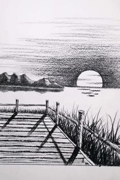 Landscape Pencil Drawings, Landscape Sketch, Pencil Art Drawings, Simple Landscape Drawing, Scenery Drawing Pencil, Drawing Sunset, 3d Art Drawing, Nature Drawing, Beach Drawing