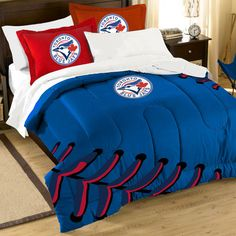 Northwest Co. MLB Blue Jays Contrast 3 Piece Twin/Full Comforter Set & Reviews | Wayfair Baseball Quilt, Baseball Live, Mlb Blue Jays, Full Comforter Sets, Baseball Toronto, Toronto Blue Jays, Go Blue, Boy Room, Comforters