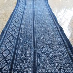 Batik cotton fabrics  Indigo Blue Hmong textiles Table by dellshop