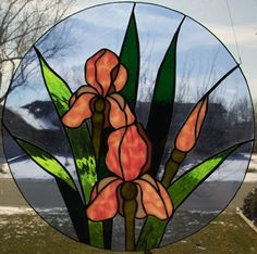 Stained glass round large suncatcher of a Iris