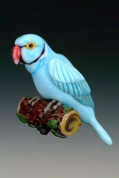 Ringneck Parakeet lampwork bead - by artist  Kim Fields,  NorthFire Design