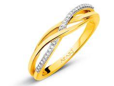 Pierścionek z żółtego złota z diamentami APART