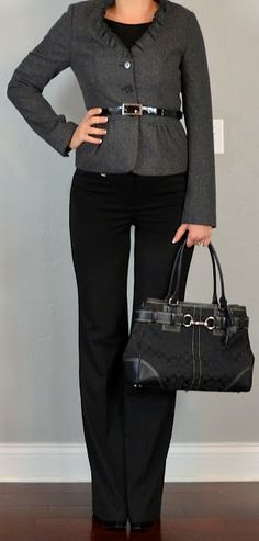 Outfit Posts: outfit post: grey ruffle jacket, black 'editor' pants, black boatneck shirt