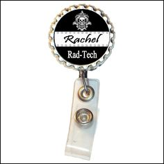 New Design - Personalized Radiology Rad Tech Black and White Skeleton Metal Retractable Badge Reel ID Clip. $10.00, via Etsy.