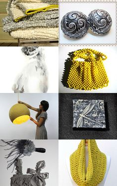 grey and yellow by Pascaline on Etsy--Pinned with TreasuryPin.com
