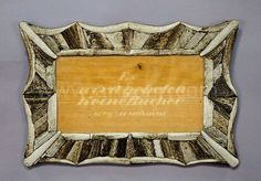 great picture frame with antler marquetry - blondel ca. 1840