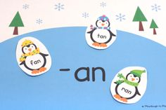 Activity for ages 4 to 7. I love using word families to teach children how to read and write. Simply put, word familiesare groups of words that use the same spelling pattern. For example, the word family {-at} includes the words {cat, hat, bat}. Learning to recognize word families helps children read more fluently.This penguin …