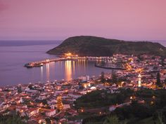 Harbour and Town of Horta, Faial Island, Azores, Portugal