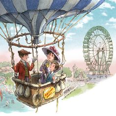 up in a balloon... (ferris wheels are hard to draw!)