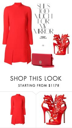 """""""Red """" by ivon-hernandez ❤ liked on Polyvore featuring Victoria, Victoria Beckham, Giuseppe Zanotti, Alexander McQueen and Rika"""