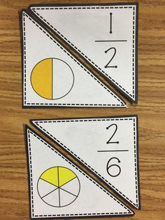 Fraction Match!! Fraction game that gets students identifying parts of a whole by putting together the picture to the fraction. Very easy to assemble!  Can be used in a guided math group or individually.