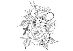 Rosas relogio Uhr Blumen Time Tattoos, New Tattoos, Tattoos For Guys, Cool Tattoos, Tattoo Stencils, Tattoo Fonts, Make Tattoo, I Tattoo, Tattoo Design Drawings