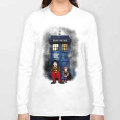 Waiting the Doctor Long Sleeve T-shirt #longleeve #Tee #Tshirt #etsy #redbubble #CharlieChaplin #WaitingtheDoctor #tardisdoctorwho #publiccallbox #phonebooth #davidtennant #littlegirls