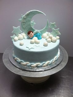 Sleepy moon baby shower cake #luckytreats #babyshower Fondant Cakes, Cupcake Cakes, Baby Cake Design, Fantasy Cake, Baby Shower Cakes, Baby Cakes, Moon Cake, Cakes For Boys, Custom Cakes