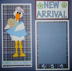New Arrival Boy 12x12 premade double layout scrapbook pages with paper piecings