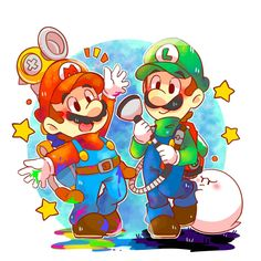 Mario & Luigi by Super Mario Bros, Super Mario Kunst, Super Mario Games, Super Mario World, Super Mario Brothers, Super Smash Bros, Instructions Lego, Mario Und Luigi, Mario Fan Art