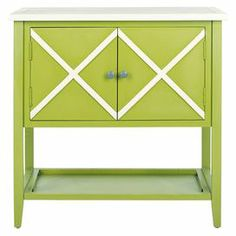 "Green poplar wood sideboard with a criss-cross design.     Product: SideboardConstruction Material: PoplarColor: Green and whiteFeatures:Two doors Criss-cross designLower display shelfDimensions: 30.1"" H x 29.1"" W x 14.1"" D"