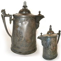 "13"" ANTIQUE 1854 REED & BARTON SILVER Plate Etched SILVERPLATE Ice Water PITCHER $285 ... we sell more VINTAGE and ANTIQUE SILVER PLATED KITCHEN HOME DECORATIONS at http://www.TropicalFeel.com"
