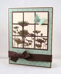 handmade card: Upsy Daisy Window by stephanie.hargis .... stamp image, cut into inchies, adhere to dark mat leaving slight space between ... luv the chocolate, vanilla & aqua color combo ...